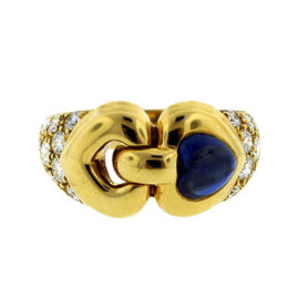 Bulgari 18K Yellow Gold Cabochon Sapphire Diamond Band Ring