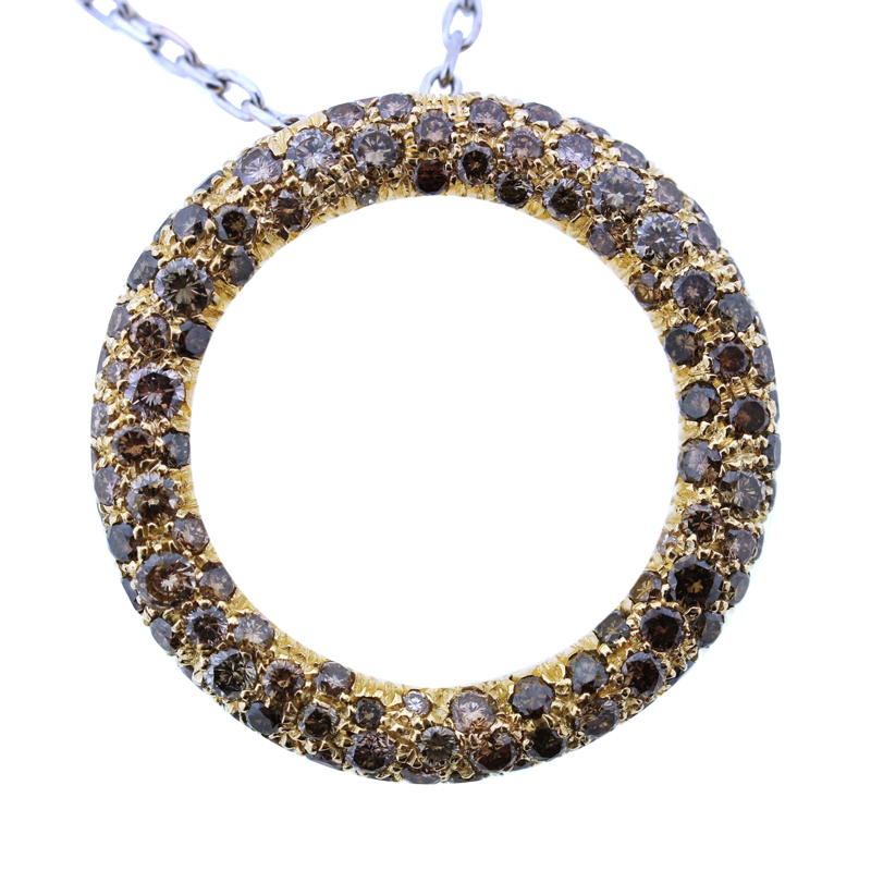 "Image of ""Roberto Coin 18K Gold Yellow & Brown Diamond Pendant Necklace"""