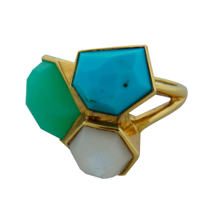 """""Ippolita Turquoise Mother of Pearl Chrysophrase & Yellow Gold Ring"""""" 64854"