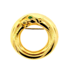 Cartier Panthere Collection 18K Yellow Gold & Emerald Pin Circa 1996