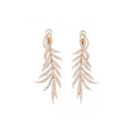 Diamond 18K Rose Leaf Earrings