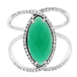 14K White Gold Diamond Garnet Ring