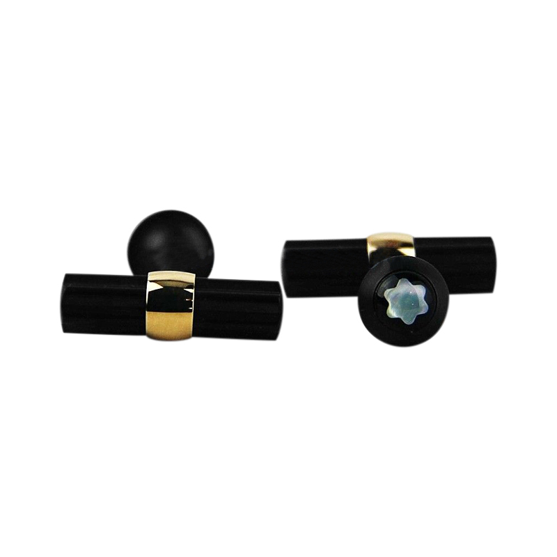 """Image of """"Montblanc Black PVD Stainless Steel & 18K Yellow Gold MOP Cufflinks"""""""