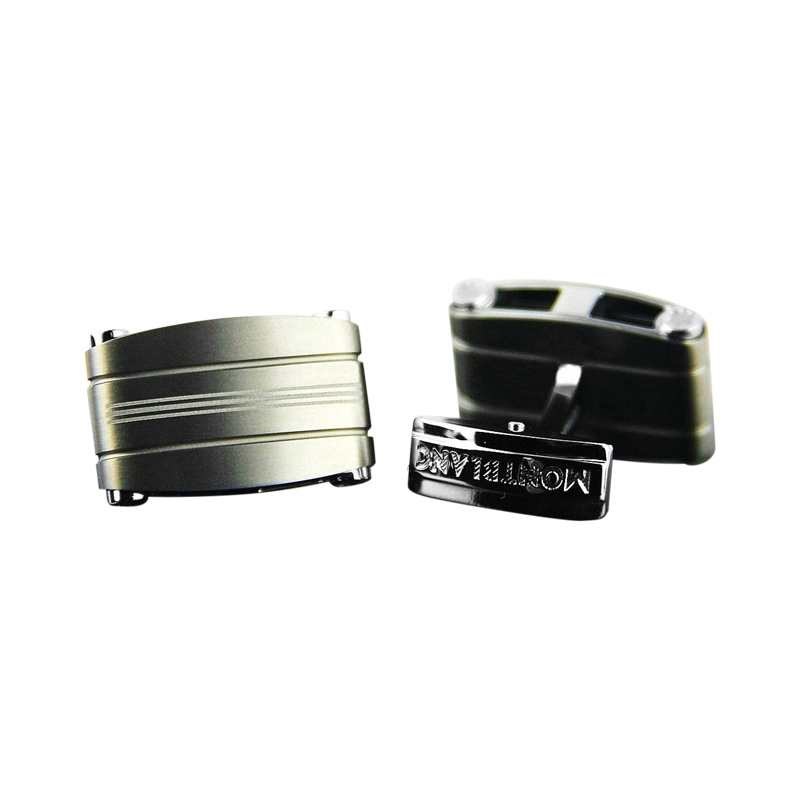 "Image of ""Montblanc Stainless Steel & Titanium Rectangular Cufflinks"""