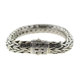 John Hardy Sterling Silver 18K White Gold & Diamond Bracelet