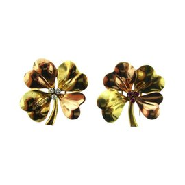 Cartier 14K Yellow & Rose Gold Diamond & Ruby Pair of Clover Clips