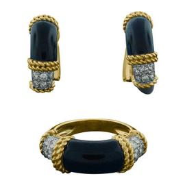 Fred Diamond, Black Onyx & Gold Ring & Hoop Earrings