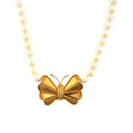 18K Yellow Gold Diamond & South Sea Pearl Butterfly Necklace