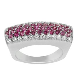 18K White Gold Diamond and Pink Sapphire Cocktail Ring
