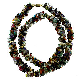 Natural Stone Strand Necklace Citrine Garnet Lapis Turquoise