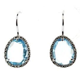 Tous 18K White Gold Aquamarine & Diamond Earrings