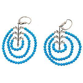 Platinum Diamond & Turquoise Earrings