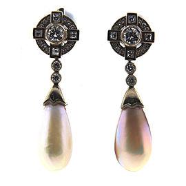 18K Gold Mother of Pearl & Diamond Earrings