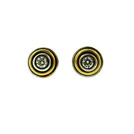14K Yellow & White Gold Diamond Stud Earrings