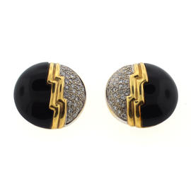 18K Yellow Gold, Diamond & Onyx Earrings