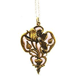 Art Nouveau 14k Yellow Gold, Enamel & Diamond Necklace