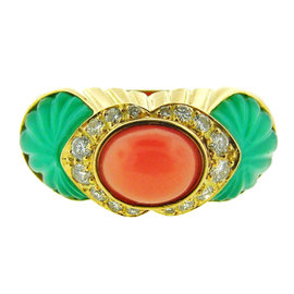 Cartier 18K Yellow Gold, Carved Chrysoprase, Coral & Diamond Ring
