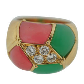 Van Cleef & Arpels YG Diamond Chrysoprase Tourmaline Ring