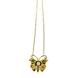 14K Yellow Gold, Sapphire, Pearl & Mother of Pearl Butterfly Necklace