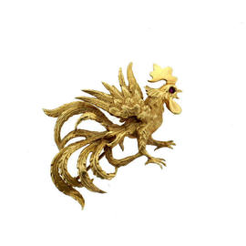 14K Yellow Gold Ruby Eyes Fun Rooster Pin Brooch
