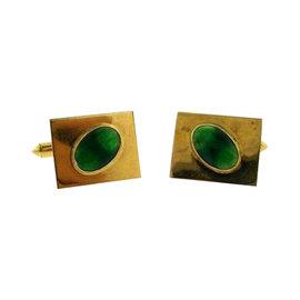 14K Yellow Gold, Nephrite and Jade Cufflinks