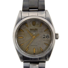Vintage Rolex Oyster Date Stainless Steel Watch Circa 1970