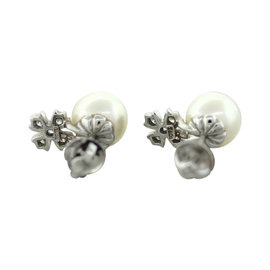 Tiffany & Co. Platinum Ayoka Pearl Diamond Cluster Earrings