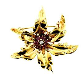 Tiffany & Co. 14k Yellow Gold, Ruby & Diamond Flower Pin
