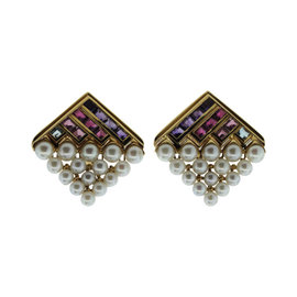 Bulgari 18K Yellow Gold Pearls Torumaline Amethyst Topaz Earrings