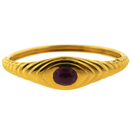 Bulgari 18K Yellow Gold Ruby Bangle Bracelet