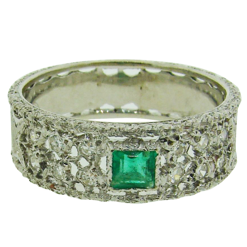 "Image of ""Buccellati 18K White Gold, Diamond & Emerald Band Ring"""