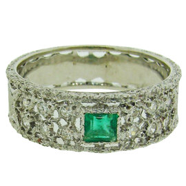 Buccellati 18K White Gold, Diamond & Emerald Band Ring