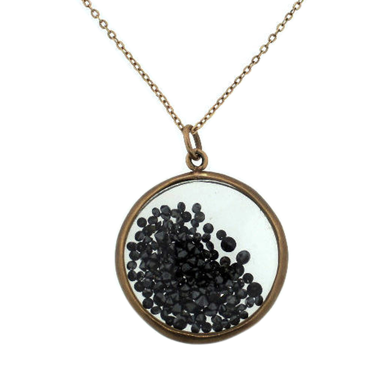 "Image of ""10K Rose Gold & Black Diamond Shaker Pendant Chain Necklace"""