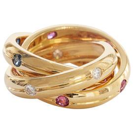 Cartier Trinity 18K Yellow Gold Ruby Sapphire Diamond Ring