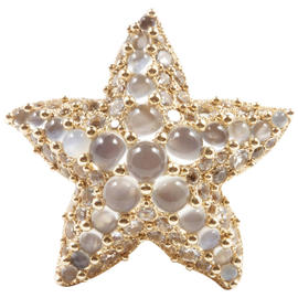 Pomellato 18K Yellow Gold Moonstone White Topaz Starfish Ring