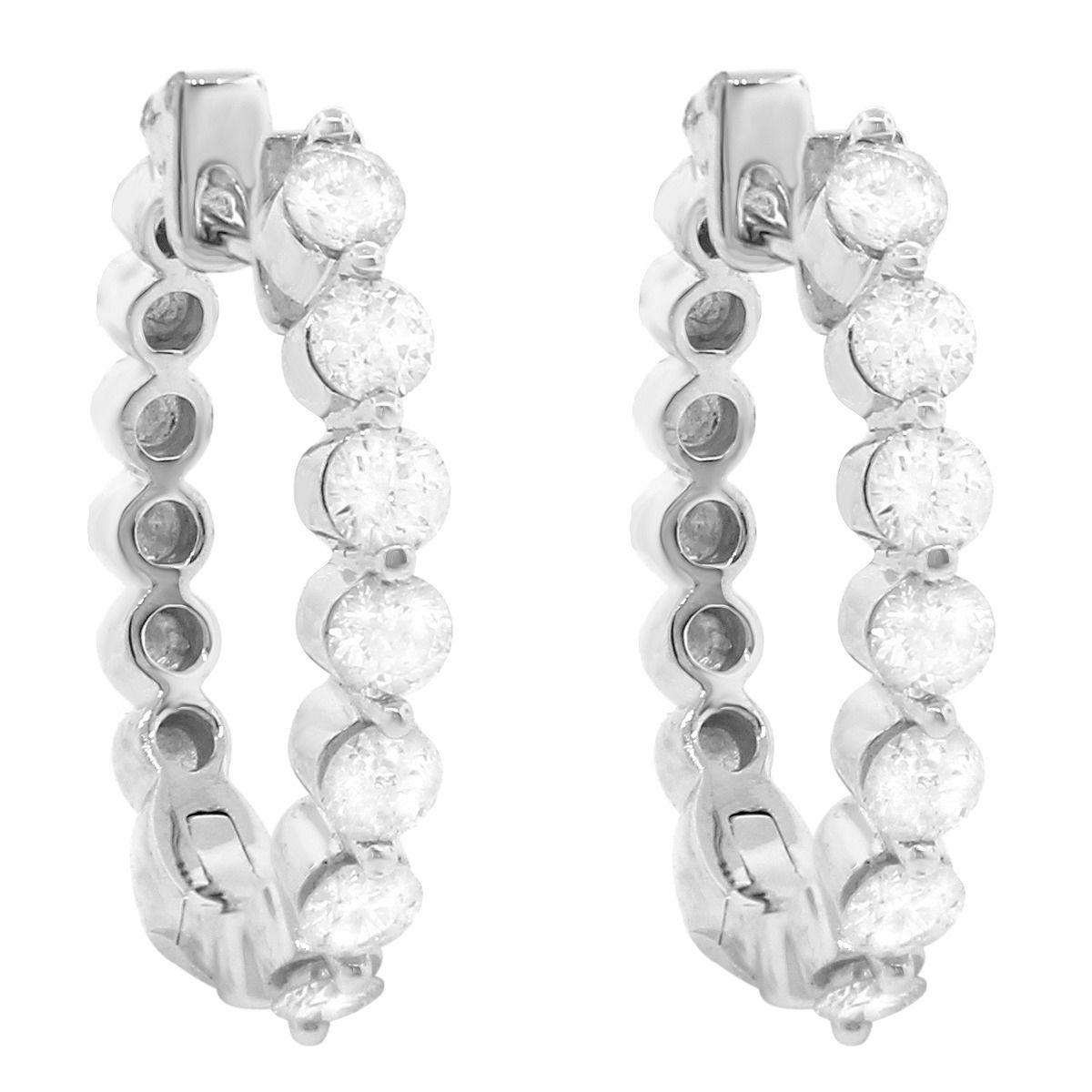 """Image of """"18K White Gold Diamond Small Hoop Earrings"""""""