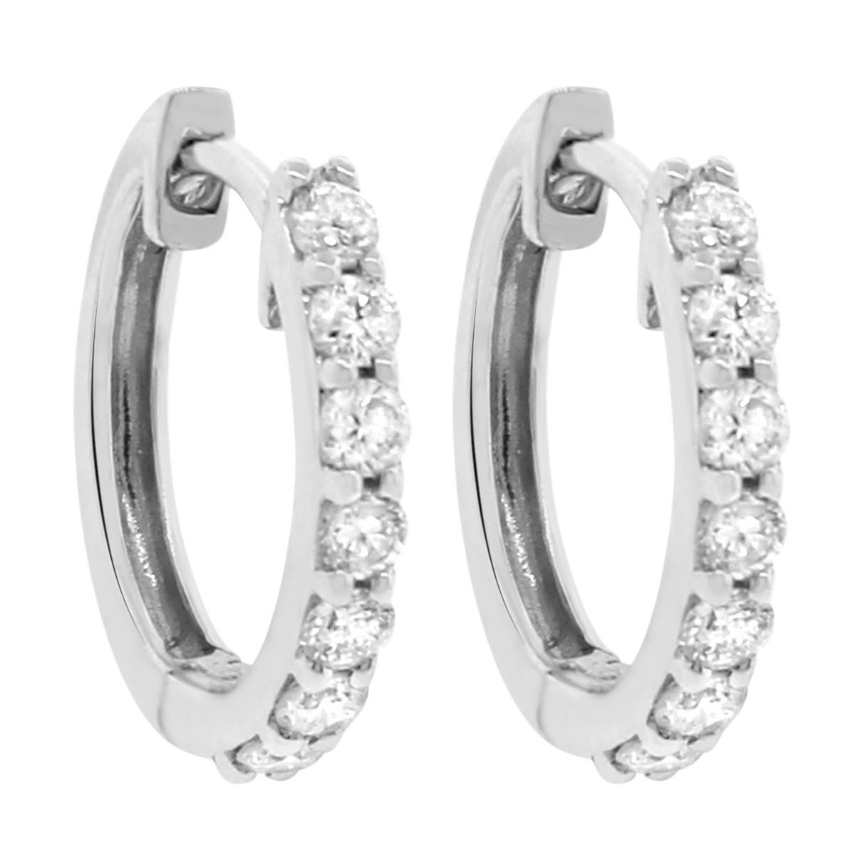 "Image of ""14K White Gold & Diamond Small Hoop Earrings"""