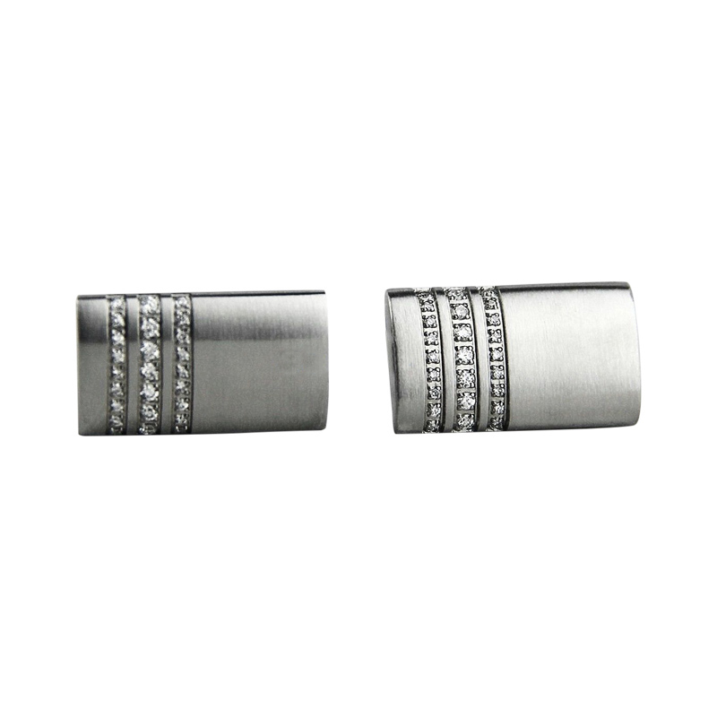 """Image of """"Montblanc Stainless Steel 3 Rings Pave Diamond Cufflinks"""""""