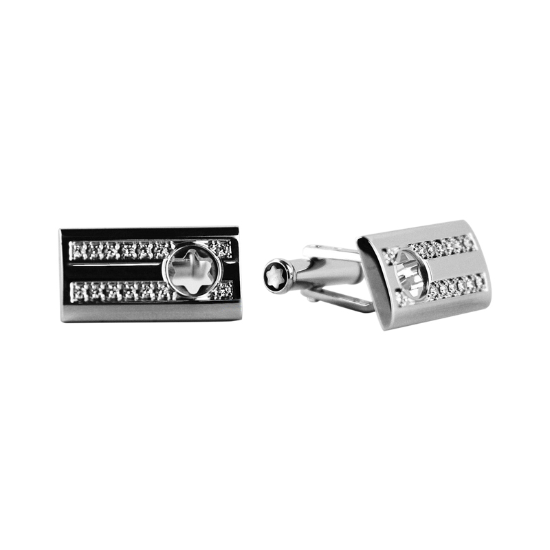 "Image of ""Montblanc Sterling Silver Skeleton Diamond Cufflinks"""