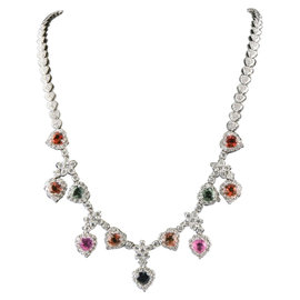 18K White Gold 6.40ct Multi-Color Sapphire & 4.41ct Diamond Heart Necklace