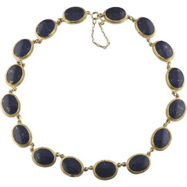 14K Yellow Gold Lapis Lazuli Cabochon Necklace