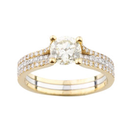 18K Yellow & White Gold 1.35ct Diamond Solitaire Engagement Ring Size 6.75