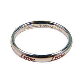 Tiffany & Co. Picasso Graffiti Sterling Silver & Red Enamel Love Ring Size 6