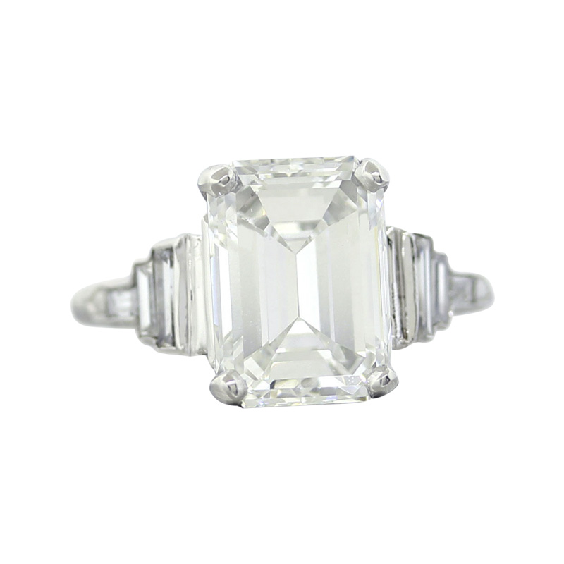 "Image of ""Platinum Emerald Cut Diamond Engagement Ring Size 7.0"""