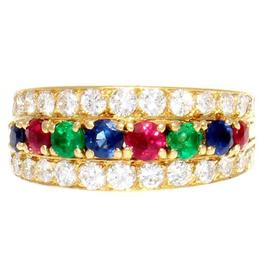 Van Cleef & Arpels 18K Yellow Gold Emerald Ruby Sapphire Diamond Gold Ring