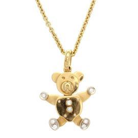 Pomellato 18K Yellow Gold Diamond Gold Teddy Bear Necklace