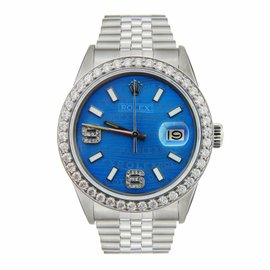 Rolex Datejust Stainless Steel Blue Color Jubilee Dial & Diamonds Mens Watch 36mm