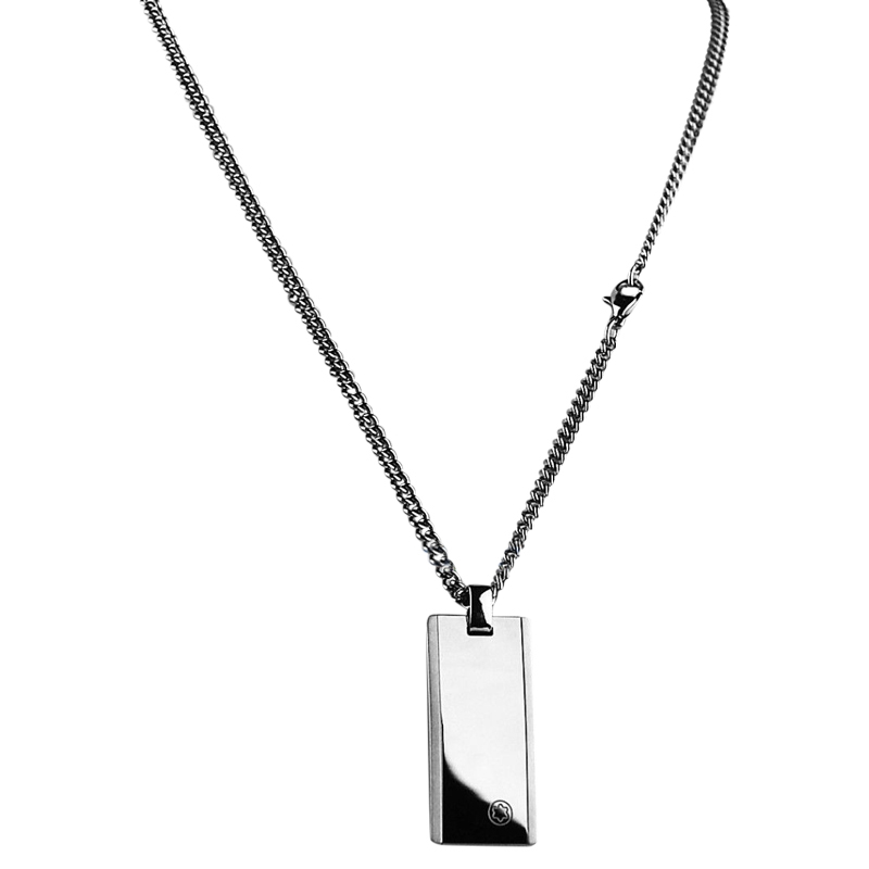 "Image of ""Montblanc Stainless Steel & Tungsten Inlay Dog Tag Necklace With Chain"""