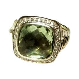 David Yurman Prasiolite Albion Diamond Modern Shank Ring
