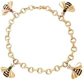 Cartier Emerald Ruby Sapphire Diamond Gold Bumble Bee Charm Bracelet